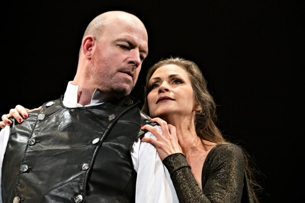 Macbeth and Lady Macbeth, played by Ian Bedford, left, and Susan Riley Stevens, succumb to their lust for power in the Pennsylvania Shakespeare Festival production of Macbeth, running on the Main Stage through August 3.