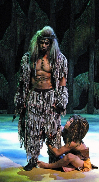 L-R: Laurence A. Curry (Kerchak), Conrad Eck (Young Tarzan) Photo