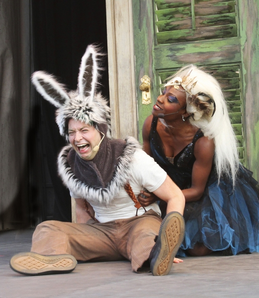 Transformed into a donkey by a fairy enchantment, Bottom (Bernard Balbot) becomes the Photo