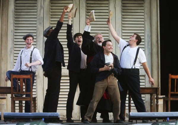 Bottom (Bernard Balbot, at center) eagerly leads the Mechanicals (left to right: Michael Finley, Justin Cornwell, Wesley Daniel, Don Forston, Max Fabian) in putting on a play for Theseusâï�¿½ï�¿½ nuptials