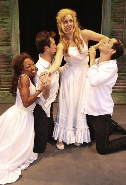 A quartet of mismatched lovers leads to chaos in the woods. From left to right: Hermia (Tiffany Yvonne Cox), Lysander (Ryan Imhoff), Helena (Amanda Catania) and Demetrius (Ryan Hallahan)