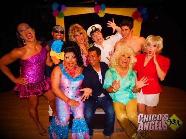 George Lopez (center) with Chico''s Angels cast (B to F) Chita Parole, Alejandro Patino, Cher Ferreyra, Kurt Koehler, Duke Shoman, Natalie Lander, Kay Sedia & Frieda Laye.