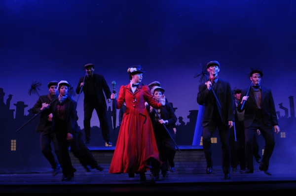 Step in Time: Mary Poppins (Catharine Kay), Bert (Patrick Clealand Rosé), and the Chimney Sweeps