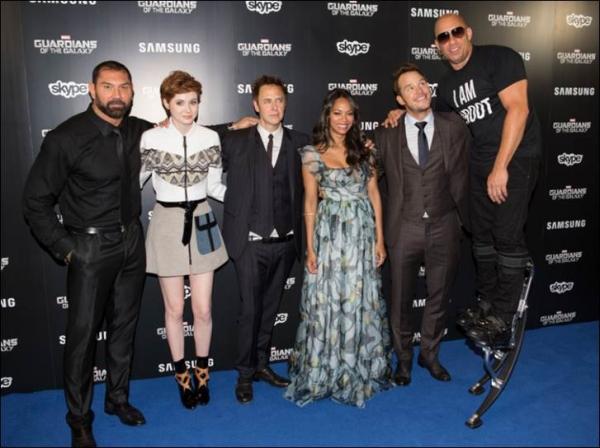 David Bautista, Karen Gillan, James Gunn, Zoe Saldana, Chris Pratt, Vin Diesel