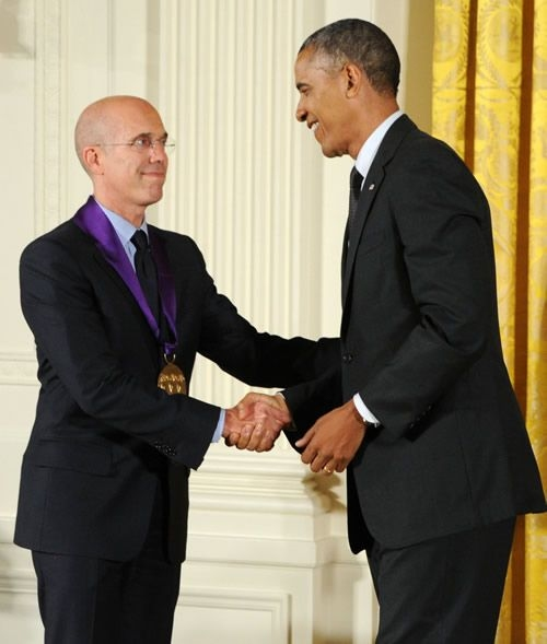 Jeffrey Katzenberg and President Barack Obama
