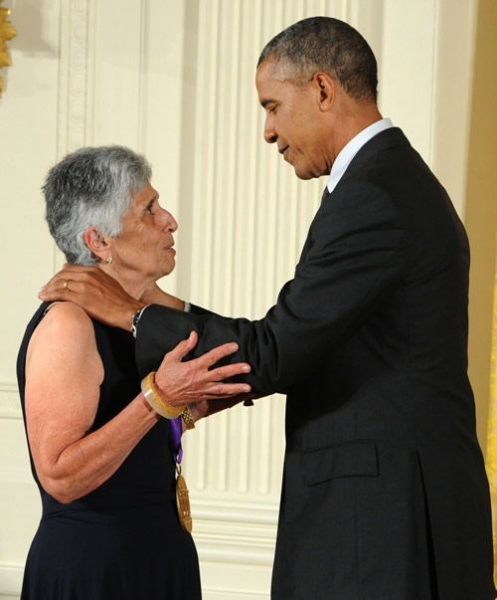 Joan Harris and President Barack Obama