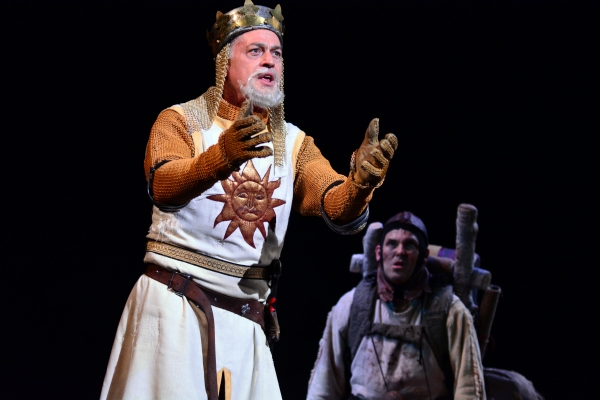 Tom Hewitt as King Arthur and Robert Creighton as Patsy