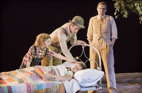 Eleanor Worthington-Cox, Daniel Tuite, Robert Sean Leonard and Callum Henderson as Scout, Boo Radley, Atticus Finch and Jem, respectively.