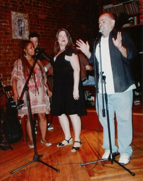 """�""""No Name' Comedy Variety Show''s house band The Summer Replacements featuring (from left) Carla Lynne Hall, Amanda Baker and NN producer Eric Vetter brought their mix of old school R & B and rock to Brooklyn''sWilliamsburg Music Cente"""