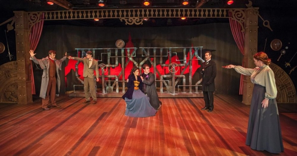 Nate Washburn as Sherlock Holmes, Luke Bond as John Smythe, Danielle Shimshoni as Lillie Langtry, Jack Corcoran as Oscar Wilde, David Gautschy as Professor Moriarty, and Wendy Bagger as Irma Tory