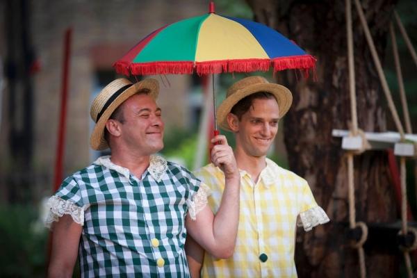 Dafydd Gwyn Howells as Tweedle Dee and Nick Howard-Brown as Tweedle Dum Photo