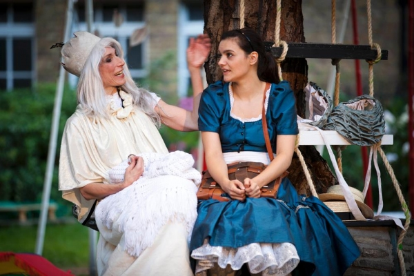 Valerie Cutko as the White Queen and Laura Wickham as Alice