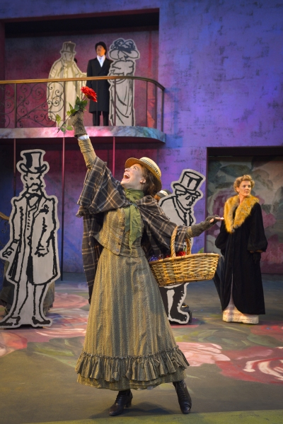 (foreground) Irene Lucio as Eliza Doolittle, (background) Nicholas Pelczar as Freddy, and Julie Eccles as Mrs. Eynsford Hill