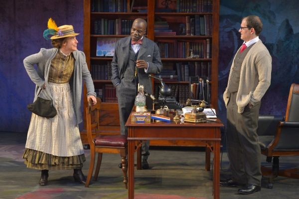 Irene Lucio as Eliza Doolittle, L. Peter Callender as Col. Pickering, and Anthony Fusco as Henry Higgins