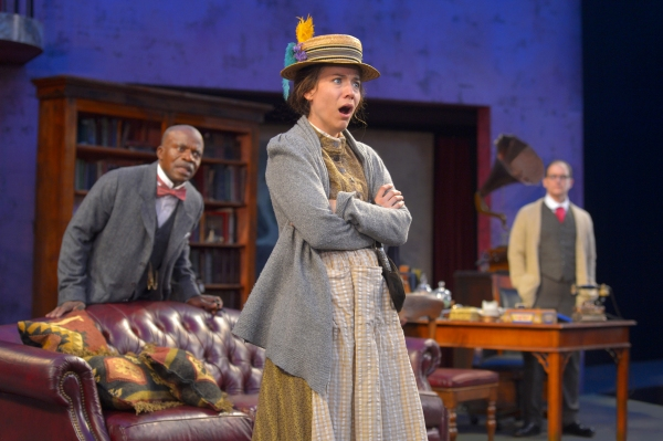 L. Peter Callender as Col. Pickering, Irene Lucio as Eliza Doolittle, and Anthony Fusco as Henry Higgins