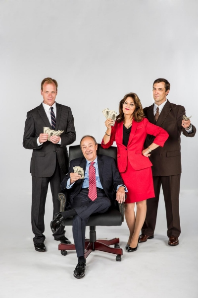 Matthew Pyle as Jeffrey Skilling, Schneider as Ken Lay, Connie Lee as Claudia Roe, Chris Shonka as Andy Fastow
