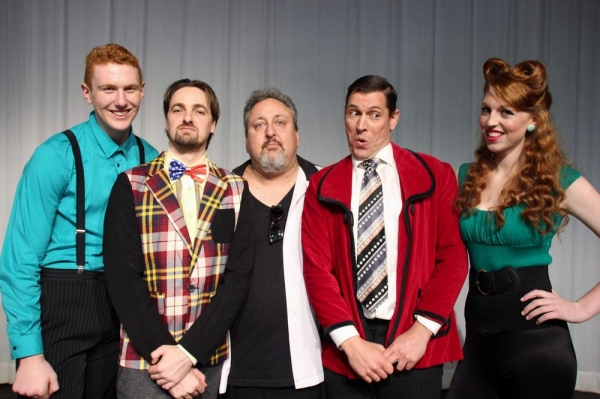 Glenn Wallis (Zubrick, left), Shaun Griffin (Narrator), Pat McMahon (Professor Leader), Gary De-Vries (Fred Bunson) and Kate Lloyd (Yoni)