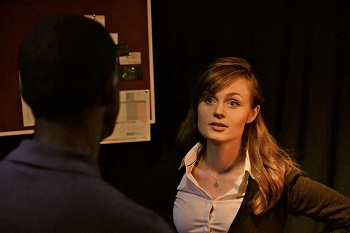 Rebecca Makin Taylor faces off with Brendon Daniels in THE KINGMAKERS Photo credit Maggie Gericke