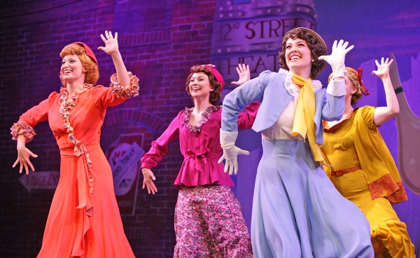 """Tapping feet click happily on New York streets as Annie (Amy Baker Schwiethale), Phyllis (Katie Welser), Peggy (Tessa Grady) and Lorraine (Becca Petersen) decide to """"Go Into Your Dance''"""