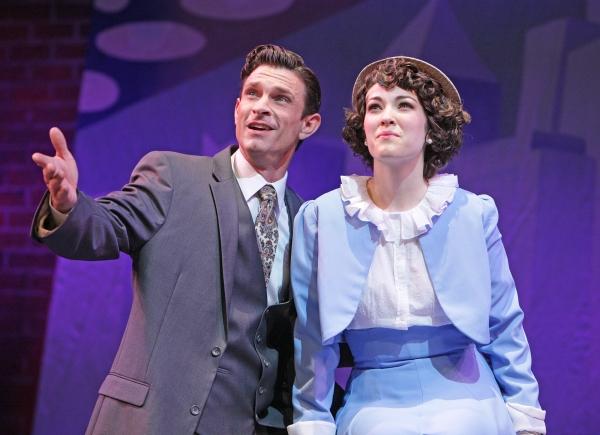 "Desperate Broadway producer Julian Marsh (Damon Kirsche) encourages chorus girl Peggy Sawyer (Tessa Grady) to listen to �""The Lullaby of Broadway''"