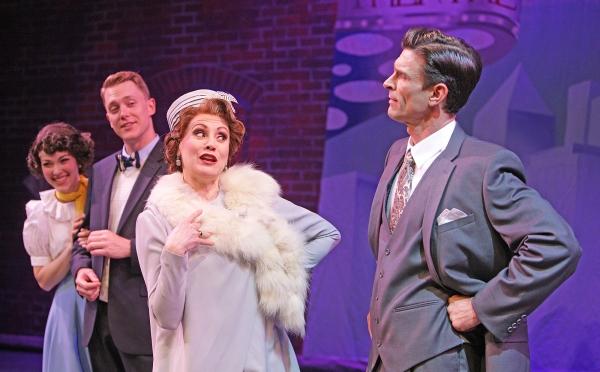 Broadway diva Dorothy Brock (Tracy Lore) lays down the law to producer Julian Marsh (Damon Kirsche) as Peggy Sawyer (Tessa Grady) and Billy Lawlor (Shonn Wiley) eavesdrop