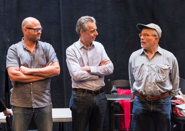 Cast member Chris Bauer, CTG Artistic Director Michael Ritchie and Playwright David Mamet