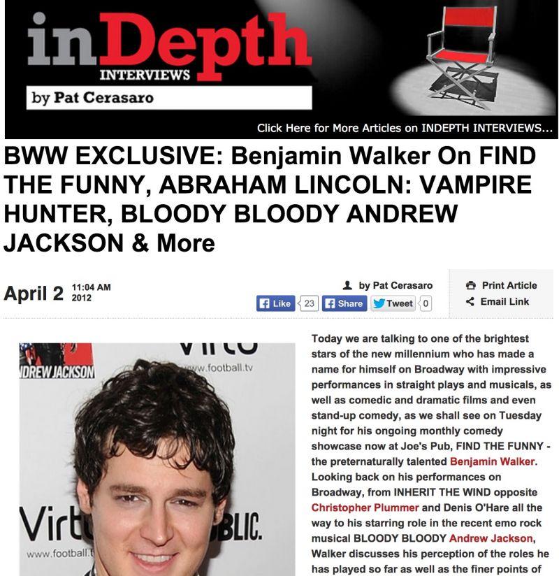 Benjamin Walker to Star in U.S. Premiere of AMERICAN PSYCHO: THE MUSICAL?