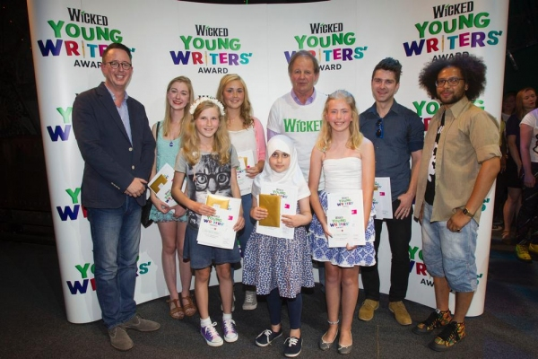 Michael McCabe (UK Executive Producer of Wicked) winners: Freya Carter, Susanna Tredinnick, Rhian Hutchings, Liya Khan, Michael Morpurgo, Caitlin Wilkins, Chris Pritchard and Dean Atta.
