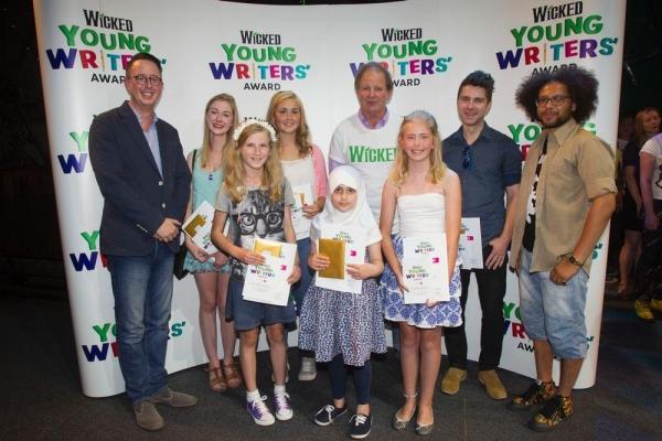 Michael McCabe (UK Executive Producer of Wicked) winners: Freya Carter, Susanna Tredinnick, Rhian Hutchings, Liya Khan, Michael Morpurgo, Caitlin Wilkins, Chris Pritchard and Dean Atta.
