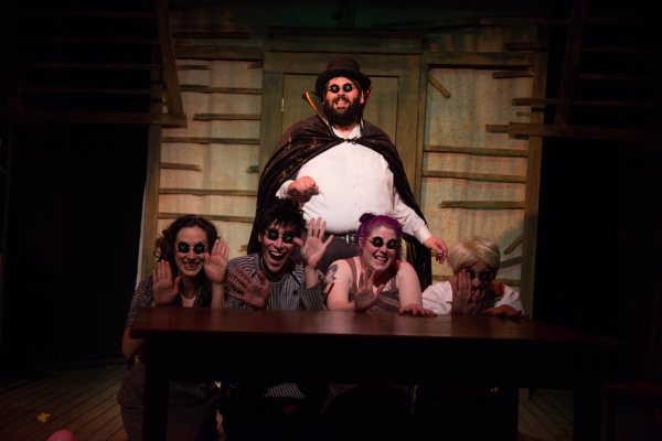 Behind: Jeff Bouthiette as Other Mr. Bobo; Foreground (Left to Right) Jennifer T. Grubb, Justin Kimrey, Caitlin Jackson and Kevin Bishop as the Rats.
