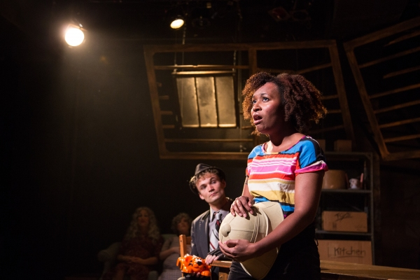 Left to Right (including background): Kevin Bishop as Miss Forcible, Caitlin Jackson  Photo