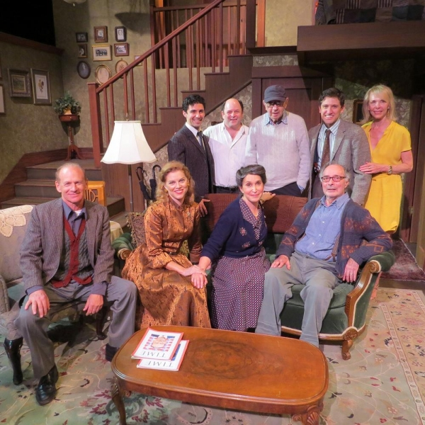Neil Simon and Elaine Joyce with Jason Alexander and the cast on the set of Broadway Bound. (Rear: Noah James, Jason Alexander, Neil Simon, Ian Alda, Elaine Joyce Front: Michael Mantell, Betsy Zajko, Gina Hecht, Allan Miller Set by Bruce Goodrich)