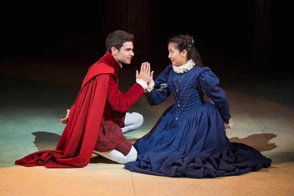 Adam Kantor as Proteus and Kristin Villanueva as Julia in Shakespeare''s The Two Gentlemen of Verona, directed by Mark Lamos, Aug. 10 - Sept. 14, 2014 at The Old Globe. Photo by Jim Cox.
