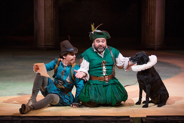 (from left) Rusty Ross as Speed and Richard Ruiz as Launce with Khloe Jezbera as Crab in Shakespeare''s The Two Gentlemen of Verona, directed by Mark Lamos, Aug. 10 - Sept. 14, 2014 at The Old Globe. Photo by Jim Cox.