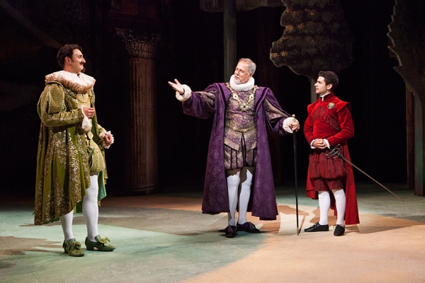 (from left) Lowell Byers as Turio, Mark Pinter as Duke, and Adam Kantor as Proteus in Shakespeare''s The Two Gentlemen of Verona, directed by Mark Lamos, Aug. 10 - Sept. 14, 2014 at The Old Globe. Photo by Jim Cox.