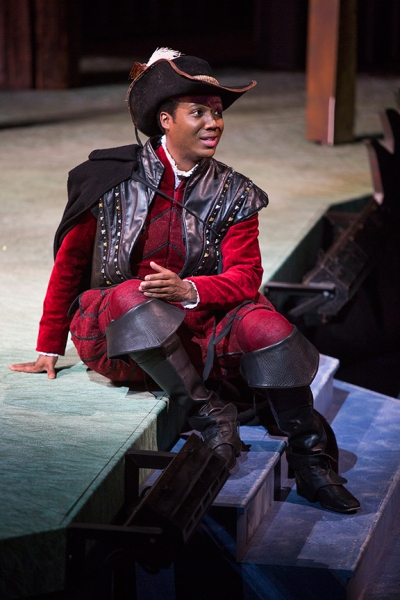 Hubert Point-Du Jour as Valentine in Shakespeare''s The Two Gentlemen of Verona, directed by Mark Lamos, Aug. 10 - Sept. 14, 2014 at The Old Globe. Photo by Jim Cox.