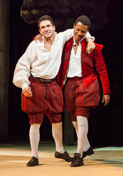 (from left) Adam Kantor as Proteus and Hubert Point-Du Jour as Valentine in Shakespeare''s The Two Gentlemen of Verona, directed by Mark Lamos, Aug. 10 - Sept. 14, 2014 at The Old Globe. Photo by Jim Cox.