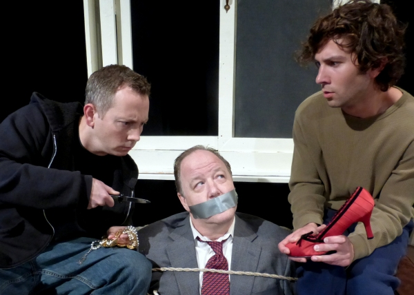 Treat thinks he has everything under control, but Harold has other plans. (from left: Jeff Cheezum as Treat, Karl Schott as Harold, Raul Bencomo as Phillip)