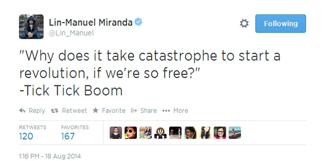 Lin-Manuel Miranda Uses Musicals to Comment on Events in Ferguson, MO