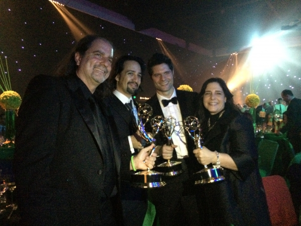 Glenn Weiss, Lin Manuel Miranda, Tom Kitt and Dori Berinstein Photo