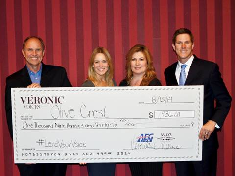 PHOTO: Véronic Donates to Olive Crest for 'Lend Your Voice' Fundraising Campaign