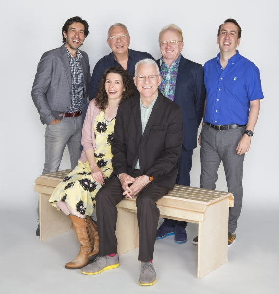 Co-creators Edie Brickell and Steve Martin (seated) and (from left) choreographer Josh Rhodes, director Walter Bobbie, musical supervisor Peter Asher, and musical director and vocal arranger Rob Berman