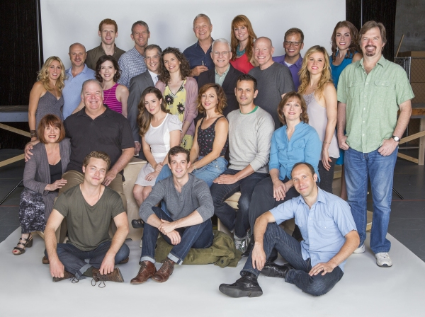 The cast and creators of Bright Star: (standing in back, from left) cast members Sarah Jane Shanks, Greg Roderick, Leah Horowitz, Max Chernin, Stephen Bogardus, Old Globe Artistic Director Barry Edelstein, co-creator Edie Brickell, director Walter Bobbie,