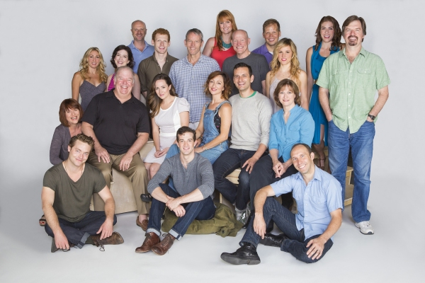 The cast of Bright Star: (back row, from left) Sarah Jane Shanks, Leah Horowitz, Greg Roderick, Max Chernin, Stephen Bogardus, Lulu Lloyd, Stephen Lee Anderson, Jeff Hiller, Libby Winters, Kate Loprest, and Scott Wakefield; (middle row) Allison Briner, Wa