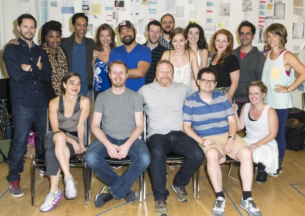 Andrew Call, Christina Anthony, Danny Pudi, Sandy Rustin, Orville Mendoza, Nick Blaemire, Daniel Everidge, Betsy Morgan, Barrett Wilbert Weed, Molly Pope, Associate Conductor Mike Pettry, Assistant Choreographer Flannery Gregg. Front row: Choreo