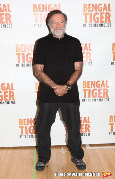 Robin Williams.attend the ''Bengal Tiger at The Baghdad Zoo'' Meet & Greet during Rehearsals at The New 42nd Street Studios in New York City.