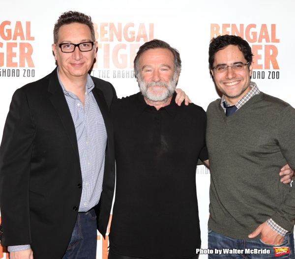 Moisés Kaufman, Robin Williams and Rajiv Joseph.attend the ''Bengal Tiger at The Baghdad Zoo'' Meet & Greet during Rehearsals at The New 42nd Street Studios in New York City.
