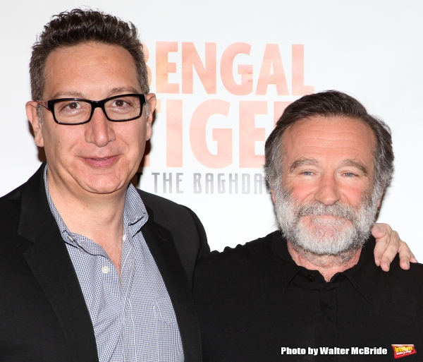 Moisés Kaufman, Robin Williams.attend the ''Bengal Tiger at The Baghdad Zoo'' Meet & Greet during Rehearsals at The New 42nd Street Studios in New York City.