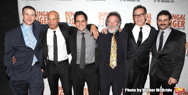 Brad Fleischer, Glenn Davis, Rajiv Joseph, Robin Williams, Moises Kaufman & Arian Moayed.attending the Broadway Opening Night After Party for ''Bengal Tiger at the Baghdad Zoo'' at espace in New York City