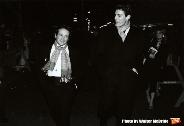 Robin Williams and Christopher Reeve Attending a Broadway Show in New York City. March 1982